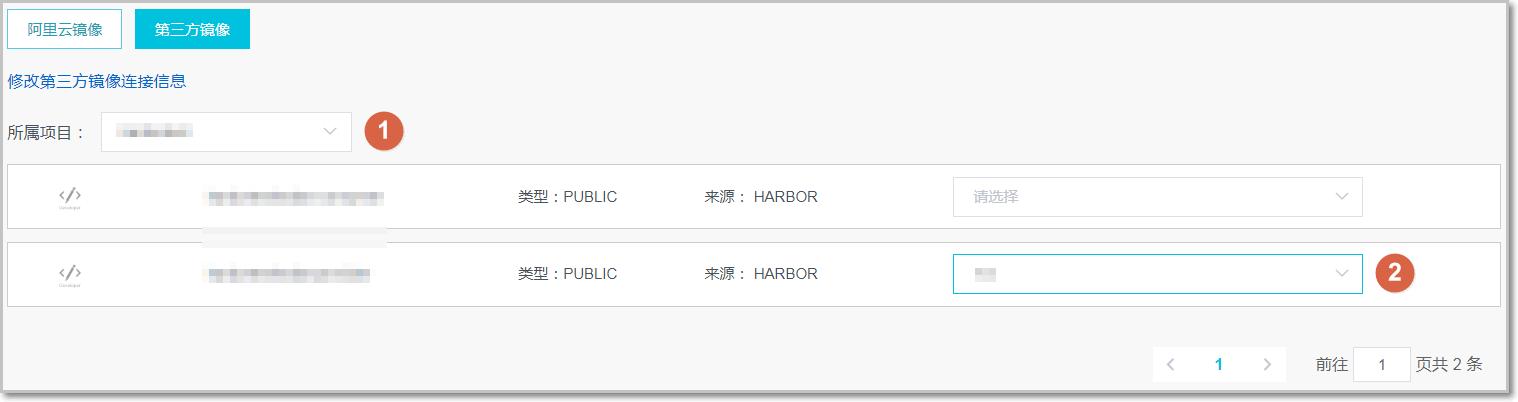 选择 Harbor 镜像