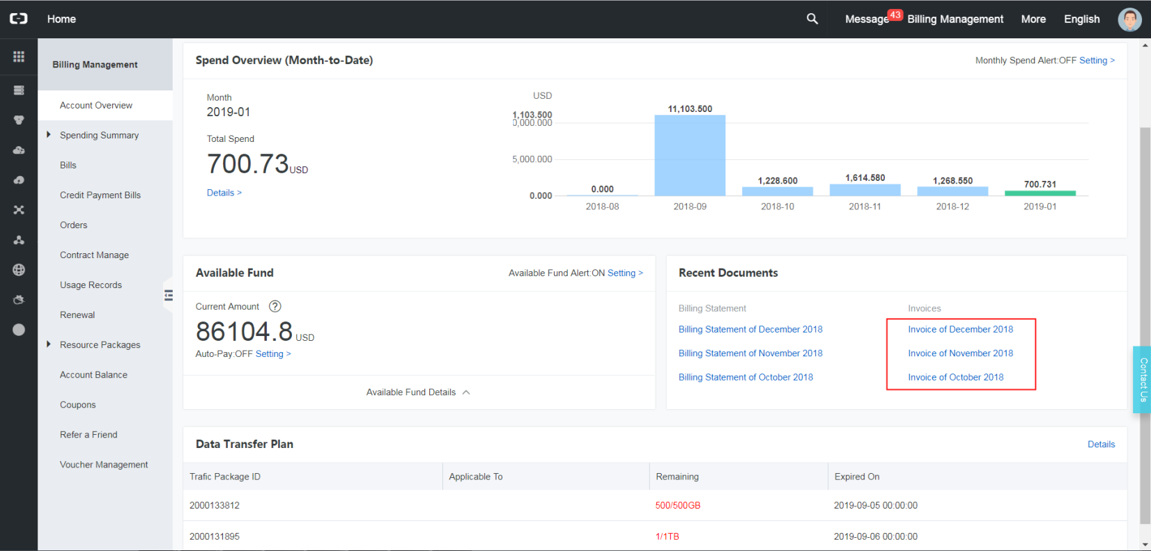 How To Download An Invoice Alibaba Cloud Credit Customer