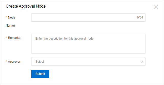 Create Approval Node dialog box