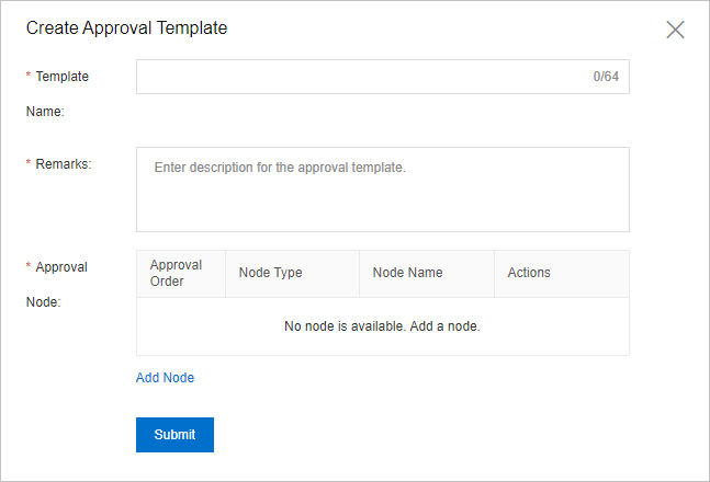 Create Approval Template dialog box