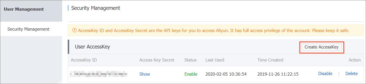 创建Access Key