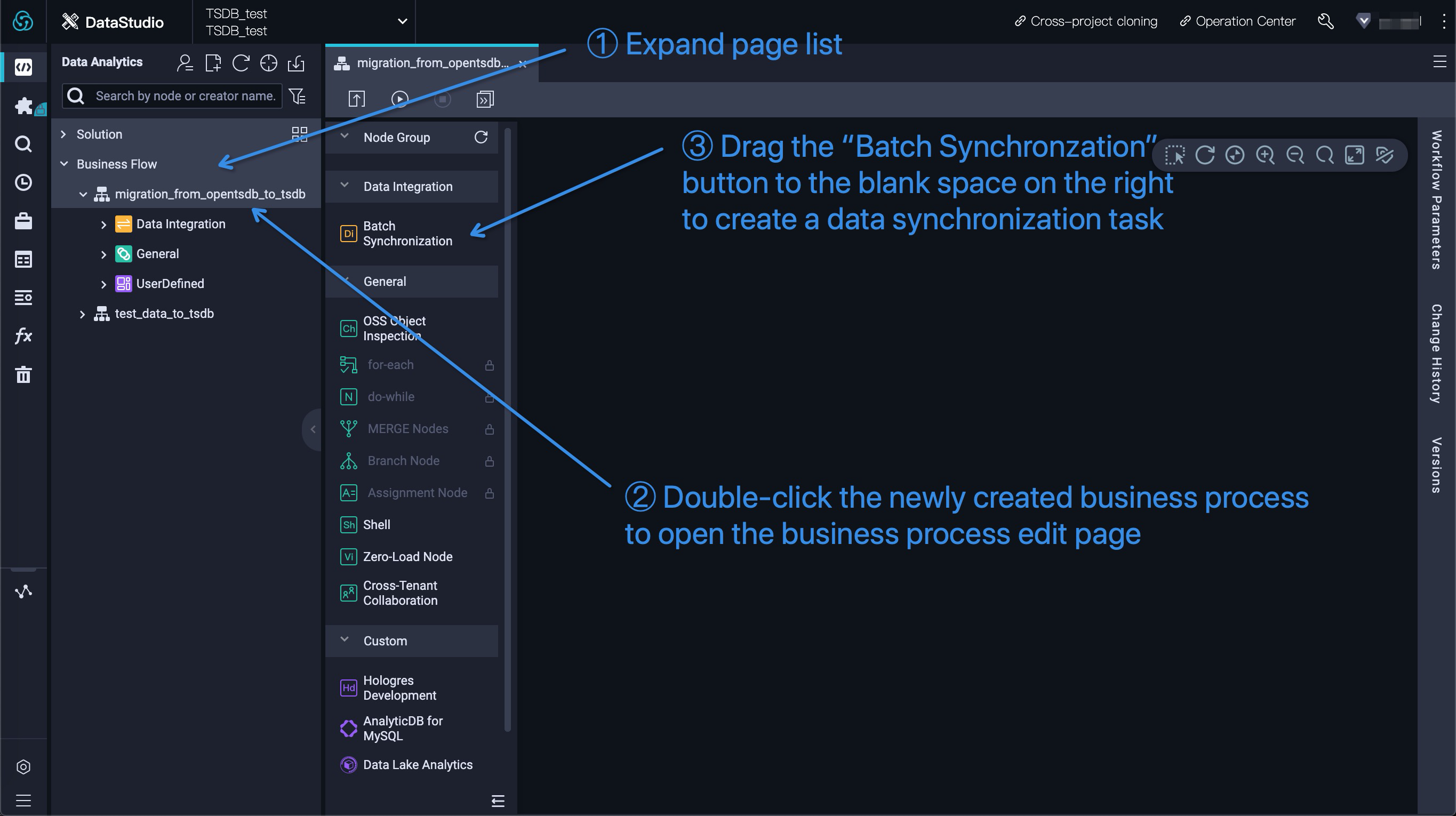 Create a sync node in DataWorks