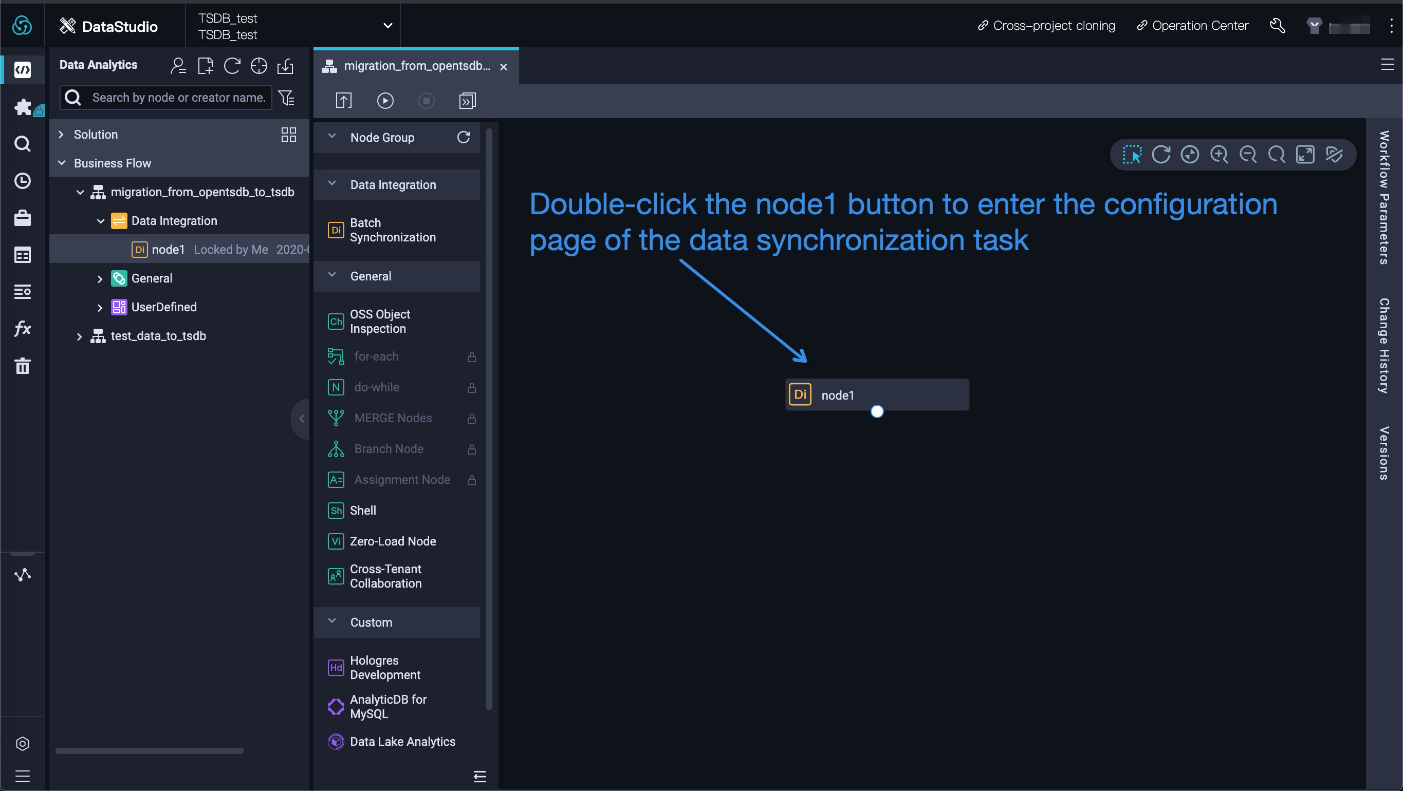 Configure the sync node in DataWorks