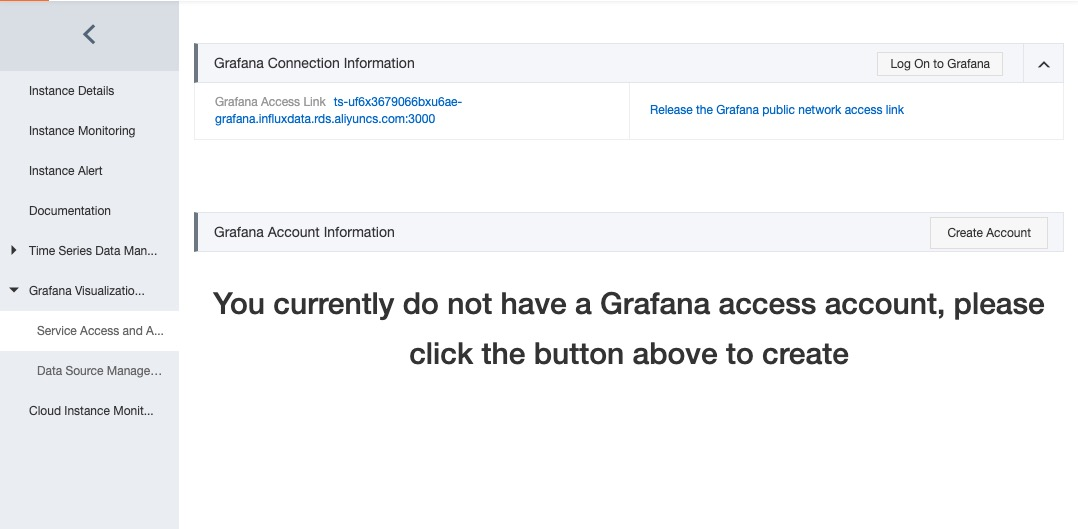 grafana account