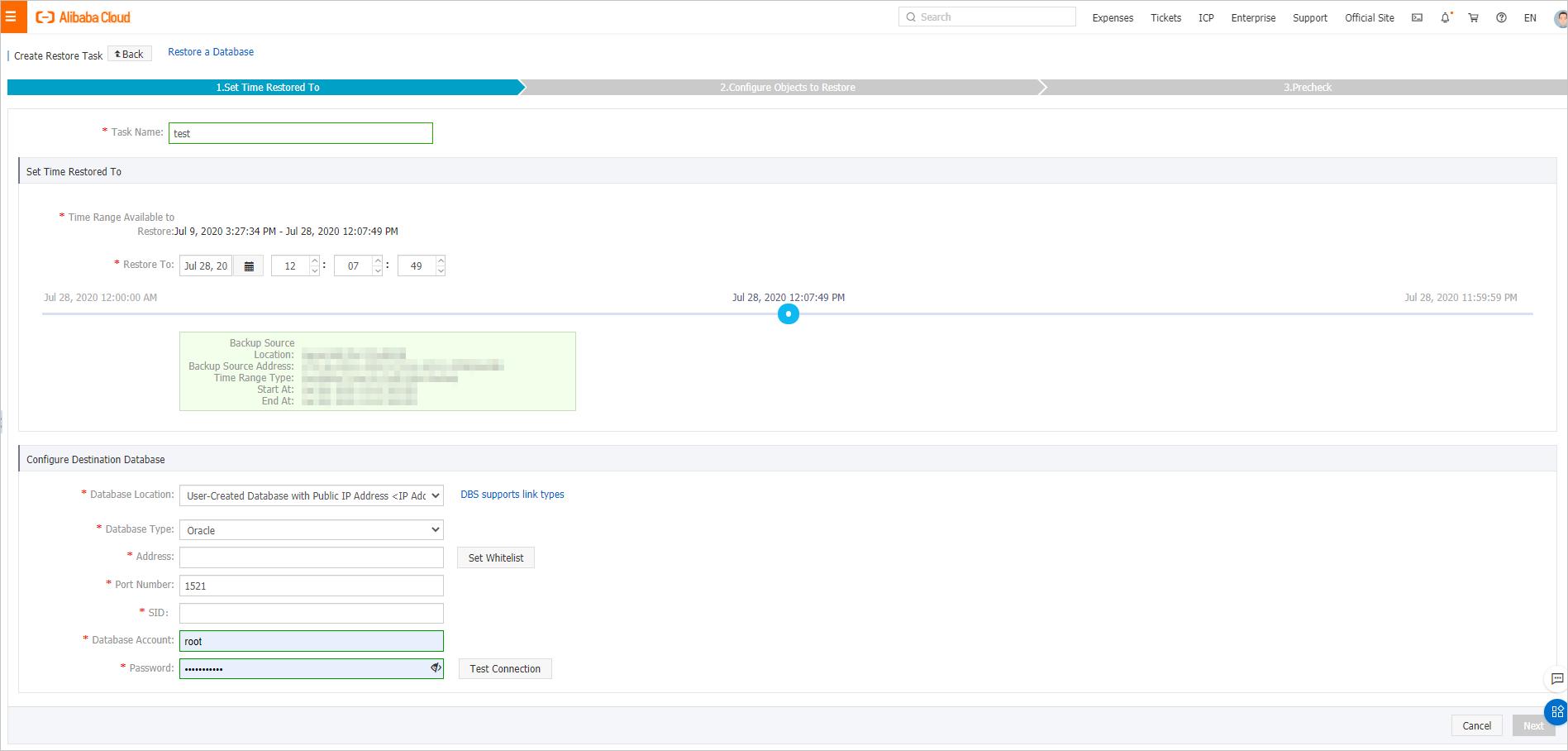 Create Restore Task Oracle