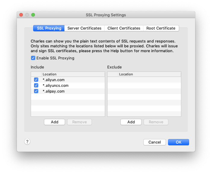 SSL Proxy Settings