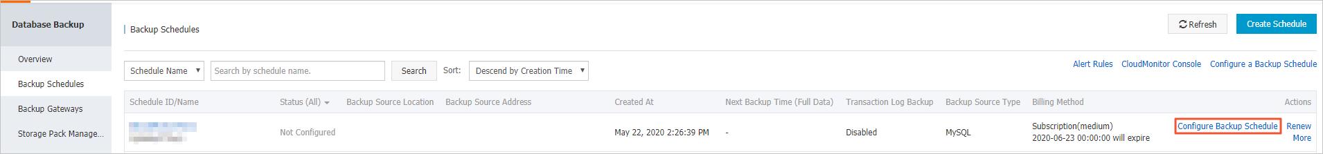 Configure a backup schedule