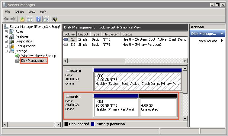 Windows Server_Disk Manager