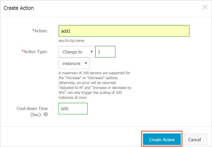 Create Action_dialog box