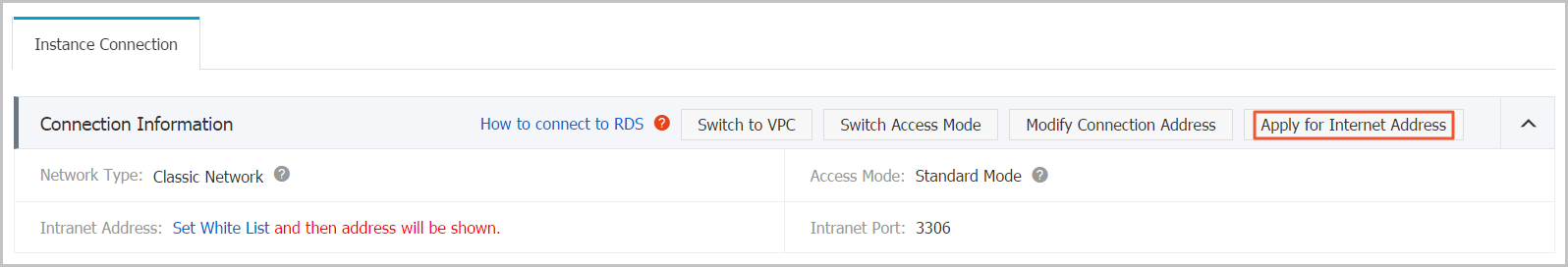 Button of Apply for Internet Address