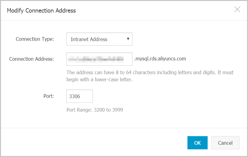 Modify connection address