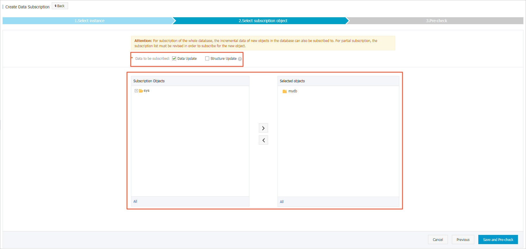 Subscription configuration_Step 2