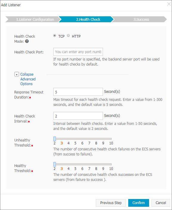 Health check settings