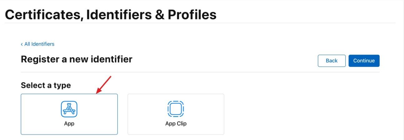 选择App类型