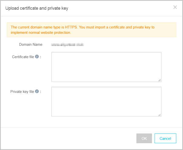 Upload certificate and private key page