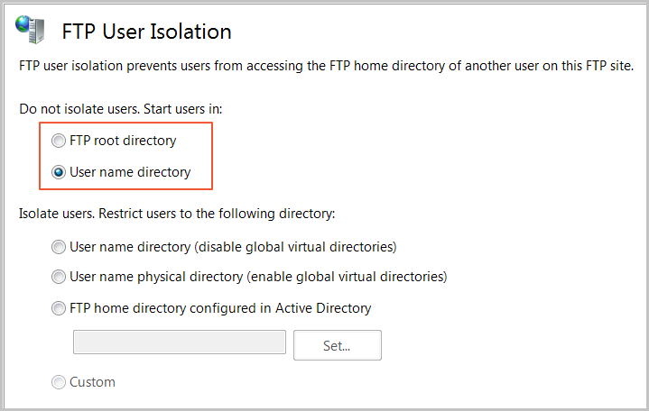 FTP directory isolation