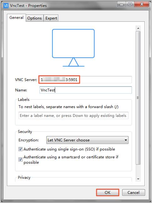 在VNC Viewer中创建新的连接