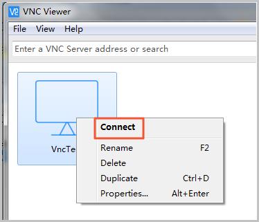 在VNC Viewer中连接实例