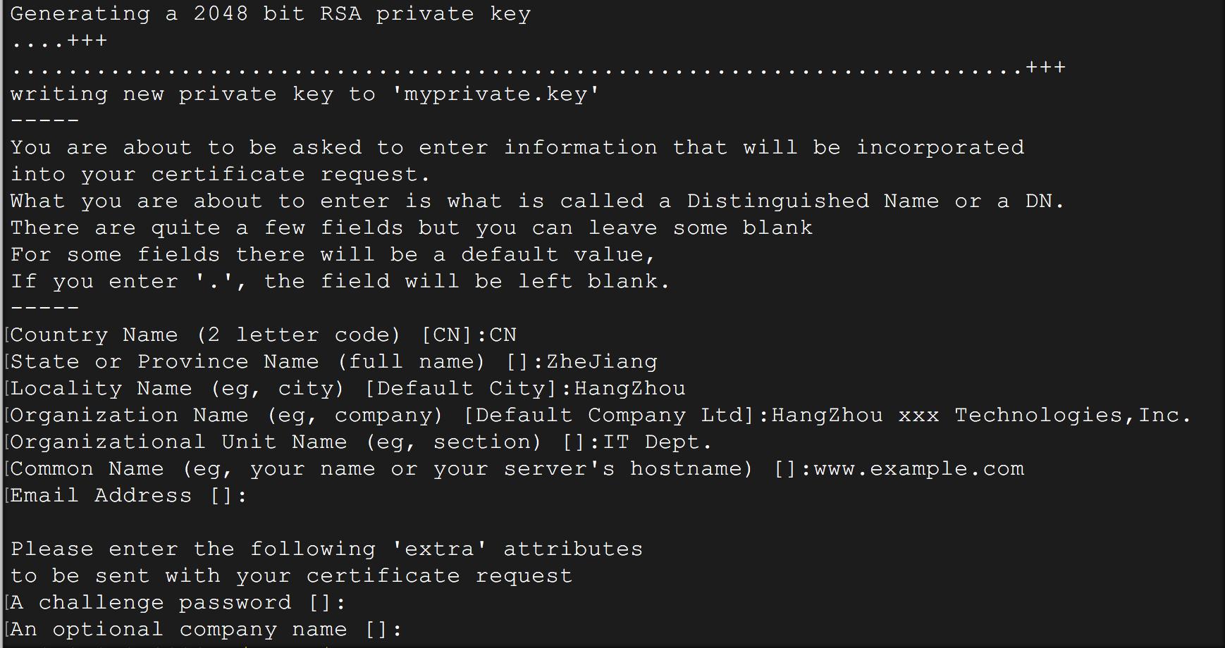 How do i create a csr file faq alibaba cloud documentation center use openssl tool to generate a csr file 1betcityfo Choice Image