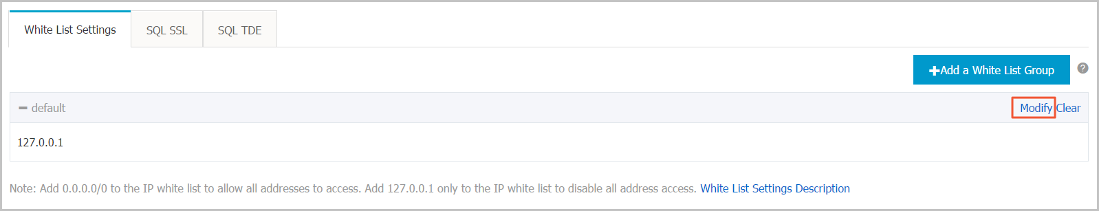 Modify the default whitelist group