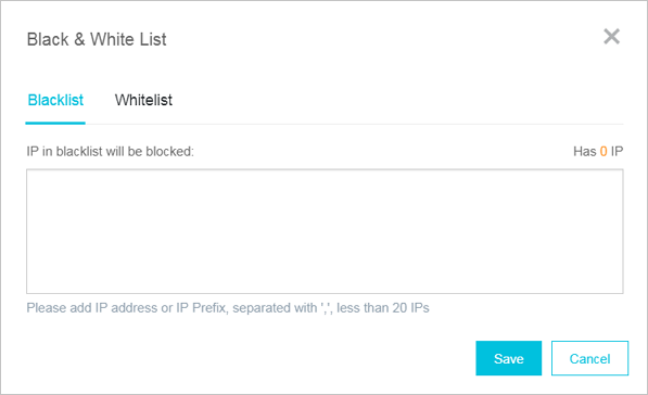 Blacklist and whitelist setting