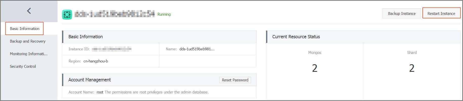 Restart a cluster version instance