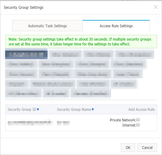 Security Group Settings dialog box