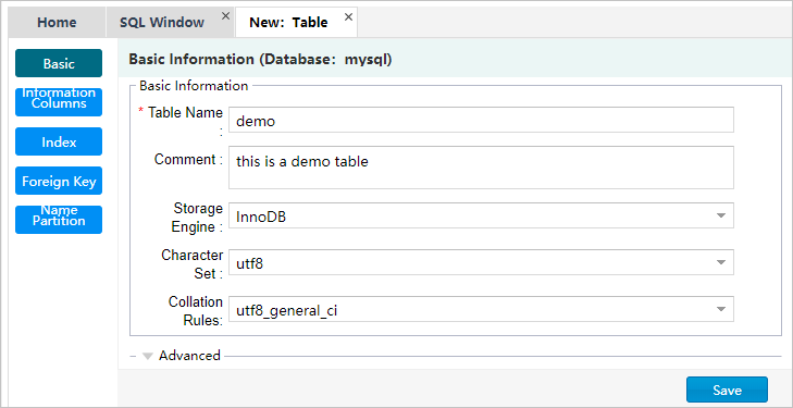 Edit the basic information of the table