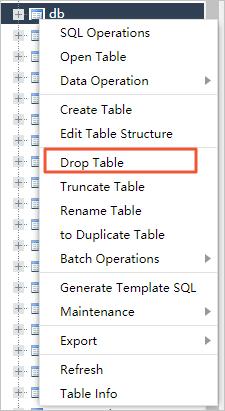 Click Drop Table