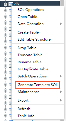 The Generate Template SQL entrance
