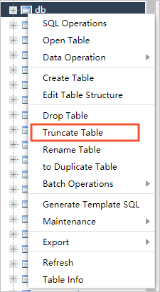 Select Truncate Table in the menu