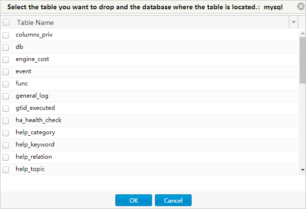 The Drop Batch Tables window