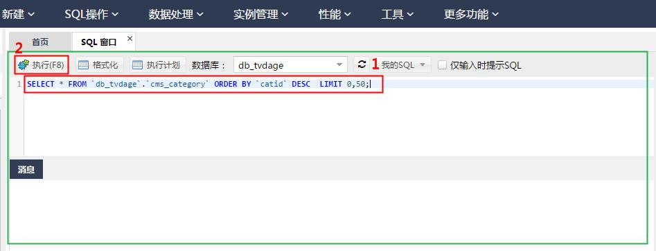 输入SQL查询语句并点击执行