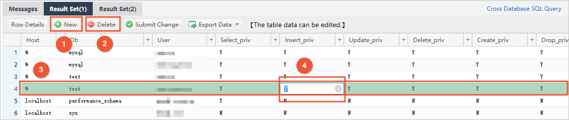 Add, delete, or edit data