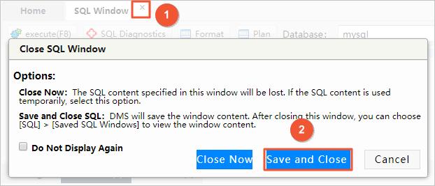 Save the SQL window