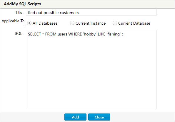 Add SQL