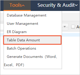 Table data amount
