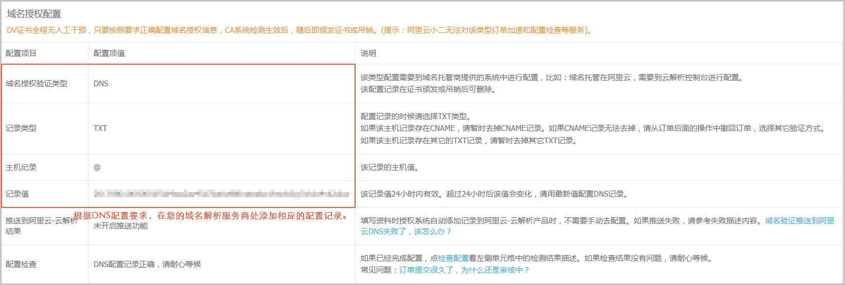DNS域名授权配置样例