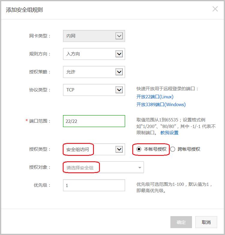 ECS_安全组_经典网络_内网入方向_安全组_本账号授权