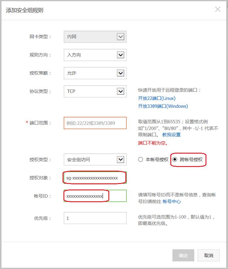 ECS_安全组_经典网络_内网入方向_安全组_跨账号授权