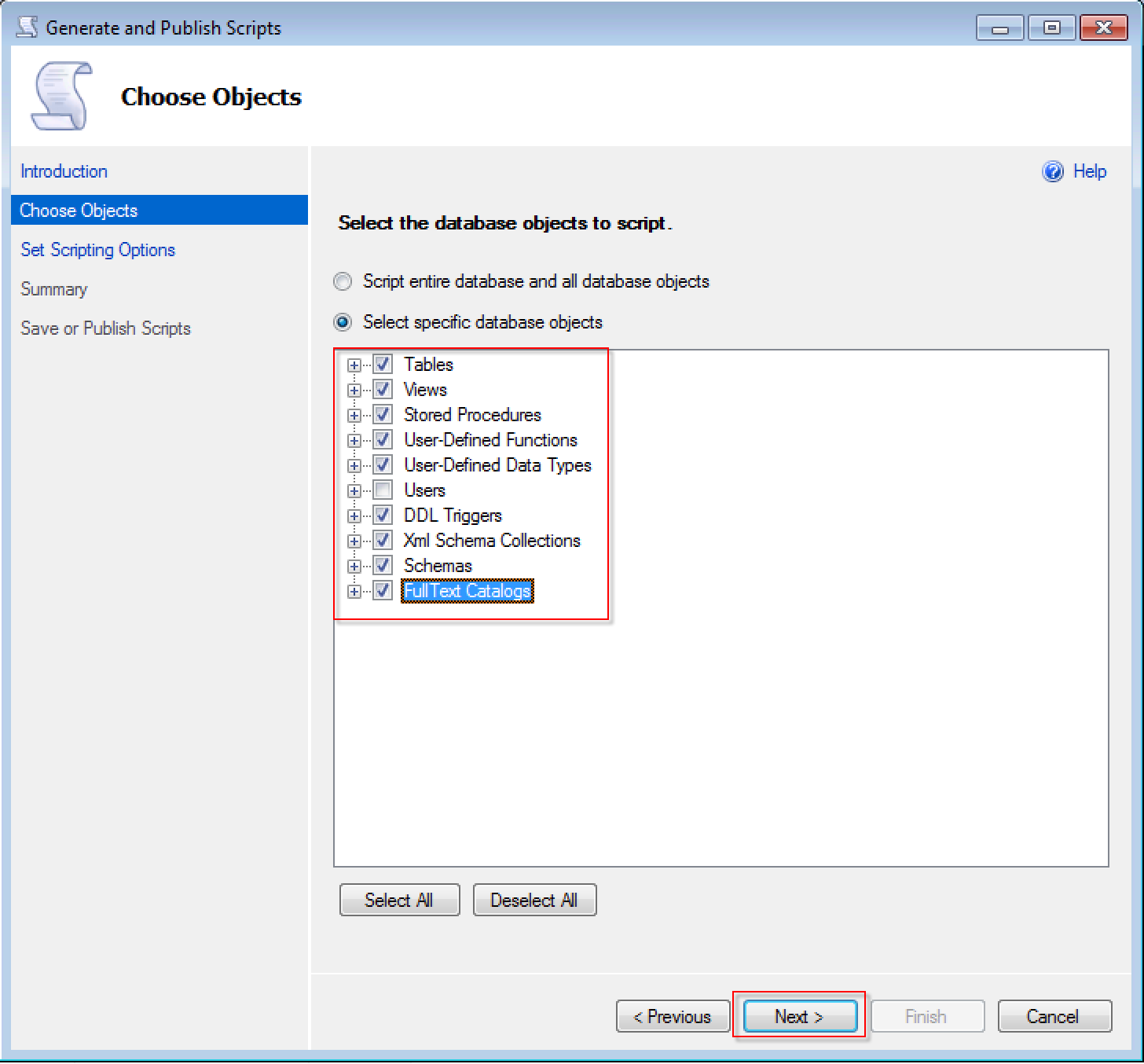 Select migration objects