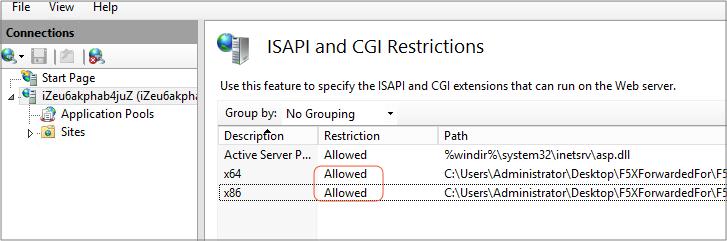 ISAPI and CGI restriction
