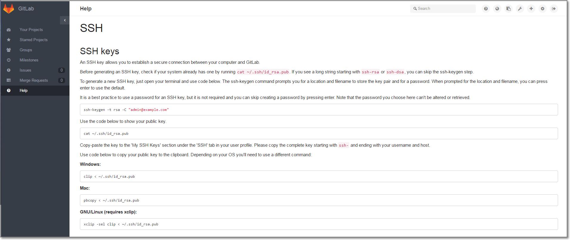 GitLab 控制台