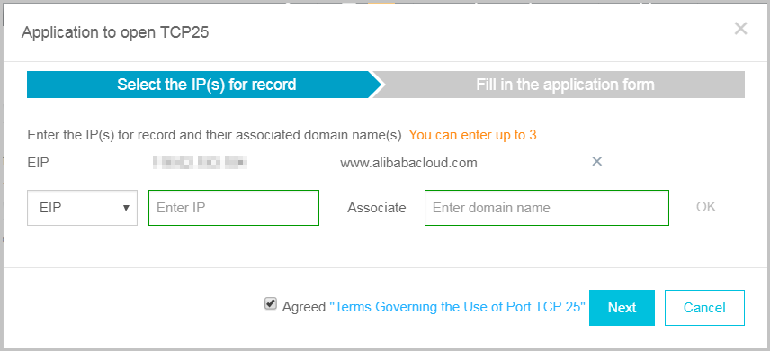 Enter the IP and domain name