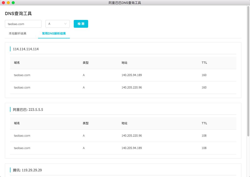 公共DNS检测结果