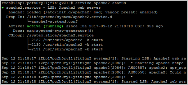 The Apache2 web server is available on the Ubuntu 16.04 system