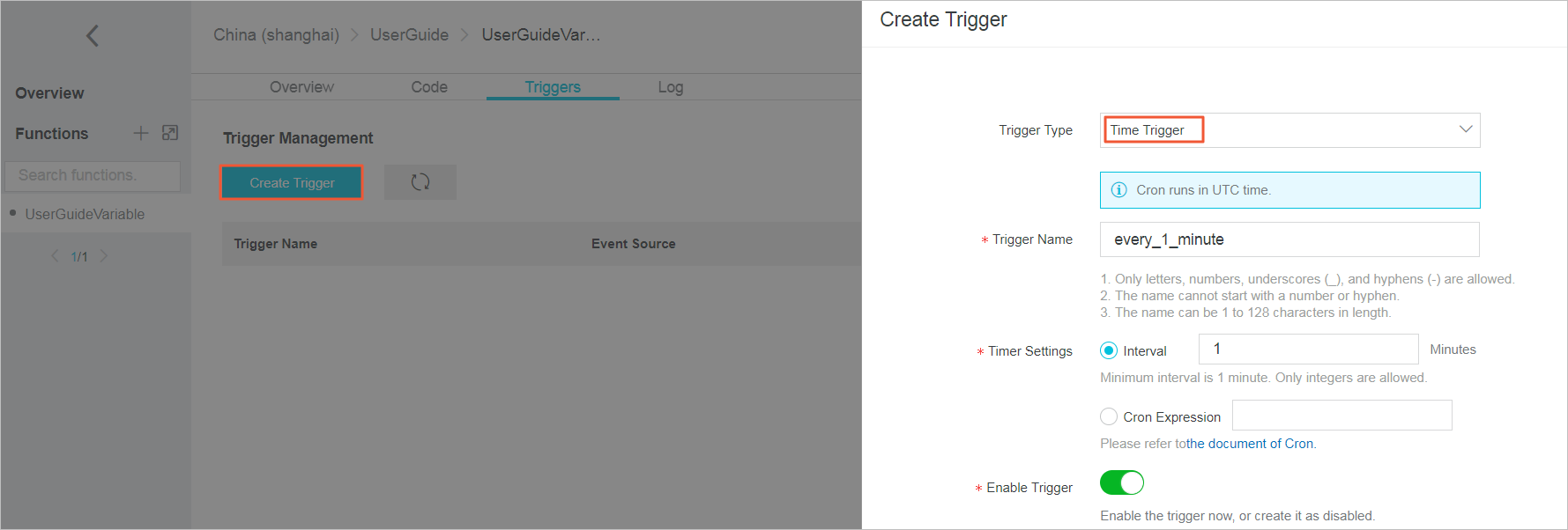 Create a timer trigger for an existing function