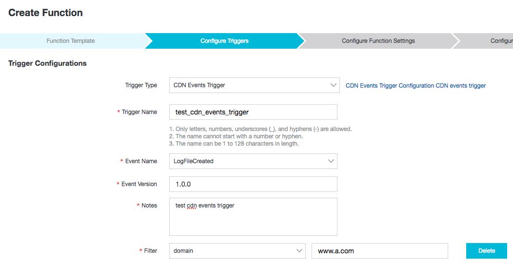 createFunctionTrigger
