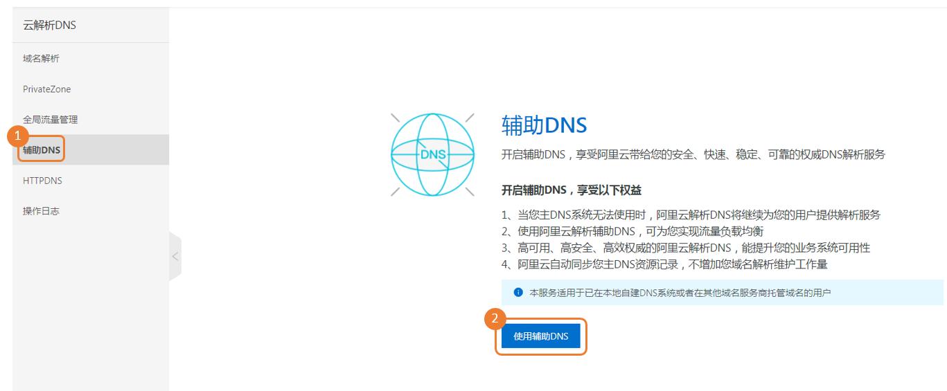 开启辅助DNS