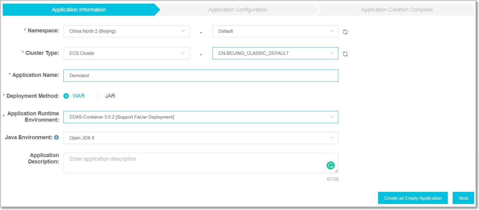 Create app in ECS cluster